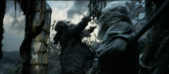 Screen shot 2012 08 05 at 9.28.15 PM 590x258 Does Gandalf Fight Sauron In THE HOBBIT Trailer?