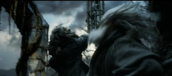 Screen shot 2012 08 05 at 9.28.32 PM 590x260 Does Gandalf Fight Sauron In THE HOBBIT Trailer?