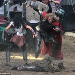 thor the dark world chris hemsworth 11 150x150 Chris Hemsworth Bashing Faces on Set of THOR THE DARK WORLD