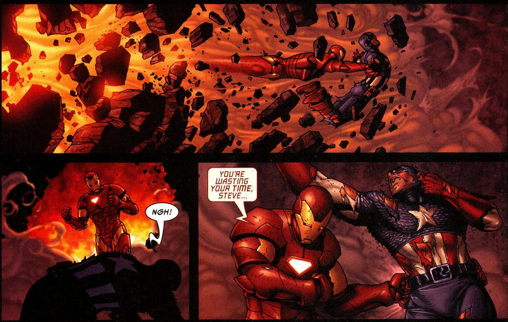 Iron Man and Captain America tearing down buildings THE LAW OF SUPERHEROES: a subtle indictment of mainstream comics
