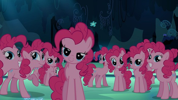 Pinkies in a cave S3E3 My Little Pony: Friendship is Magic Too Many Pinkie Pies Review