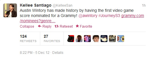Journey Grammy Tweet 1 JOURNEY   First Video Game Ever Nominated For A GRAMMY