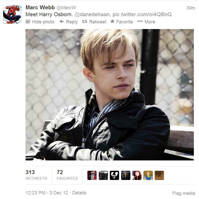 OsbornMarcWTweet Dane DeHaan to play HARRY OSBORN