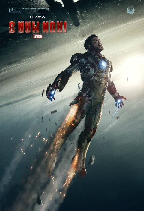 Iron Man Poster 2 upside down 480x700 Tony Stark Hurtles Towards Earth in Latest IRON MAN 3 Poster