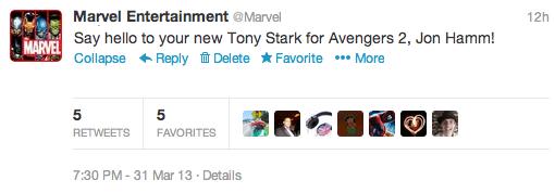 avengers 2 tweet Robert Downey Jr. Abandons AVENGERS 2, Marvel Names Replacement