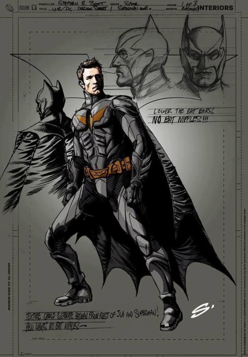 affleck batman art1 487x700 Check Out Ben Afflecks BATMAN VS SUPERMAN Concept Art